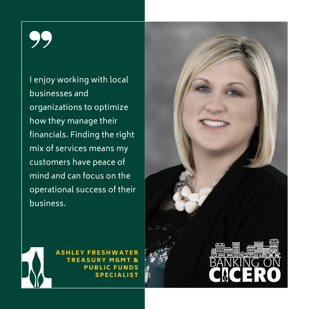 I enjoy working with local businesses and organizations to optimize how they manage their financials. Finding the right mix of services means my customers have peace of mind and can focus on the operational success of their business. Ashley Freshwater Treasury Management & Public Funds Specialist
